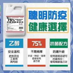 抗菌清潔75%酒精經濟包  四公升裝